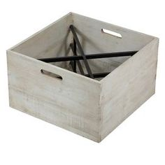 """Wood and iron wine box with a whitewash finish.  Product: Wine boxConstruction Material: Iron and woodColor: White washFeatures: Holds up to four bottlesDimensions: 9.5"""" H x 16"""" W x 16"""" D"""