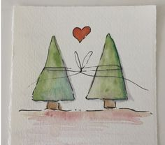 Simple but cute ! Simple but cute ! Painted Christmas Cards, Watercolor Christmas Cards, Christmas Card Crafts, Christmas Drawing, Christmas Paintings, Watercolor Cards, Xmas Cards, Christmas Art, Christmas Projects