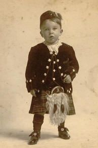 This photo is of my grandfather, Maxwell Hyde Stewart, approximately 3 years old in 1905/06. The picture was taken in Brockton, Massachusetts, USA. I was told that his kilt was sent to him by relatives in Scotland. Angela O'Brien