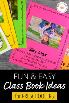 Class books are often the most engaging books in a preschool or kindergarten classroom reading corner. Click to find 20 fun ideas and learn how to make DIY class books for kids at school & home. From Pete the cat, brown bear brown bear, chicka chicka boom boom, and MORE. Use these fun books to teach letters, rhyming, beginning sounds, and other literacy concepts. This is a fun way to build a classroom community at the beginning of the year during an all about me unit and beyond. Preschool Books, Kindergarten Classroom, Rhyming Names, Reading Corner Classroom, Class Books, Learning Sight Words, Sensory Book, Chicka Chicka, Teaching Letters