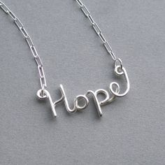 Hope necklace (sterling silver wire word) American Cancer Foundation donation