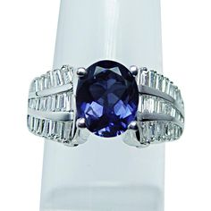 Vintage 3.6ct Tanzanite Baguette Diamond 14K White Gold Ring Estate from luvmydiamonds on Ruby Lane