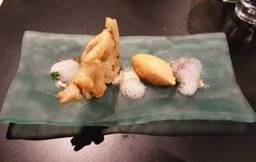 'Chilli crab' chilli crab ice cream tempura of soft shell crab. Mantou soil. by alastiar_tan