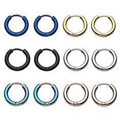 6 Pairs Stainless Steel Mens Womens Endless Hoop Earrings Cartilage Piercing Rings -- Check out this great product. (This is an affiliate link) Anti Helix Piercing, Auricle Piercing, Piercing Ring, Cartilage Earrings, Hoop Earrings, Second Hole Piercing, Sleeper Earrings, Golden Earrings, Nose Hoop