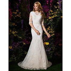 Lanting+Trumpet/Mermaid+Wedding+Dress+-+Ivory+Court+Train+Bateau+Lace+/+Tulle+–+USD+$+249.99