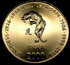 Zodiac Signs Aquarius, Chinese Zodiac Signs, Old Coins, Rare Coins, Chinese Tiger, Tiger Facts, Painting Words, Coin Art, Gold And Silver Coins