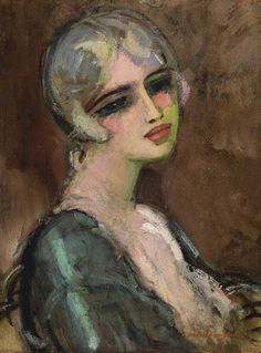 Kees van Dongen, Portrait de femme. Cornelis Theodorus Maria 'Kees' van Dongen (1877 – 1968) was a Dutch-French painter and one of the Fauves at the controversial 1905 Salon d'Automne exhibition. He gained a reputation for his sensuous, at times garish, portraits.(Wikipedia)