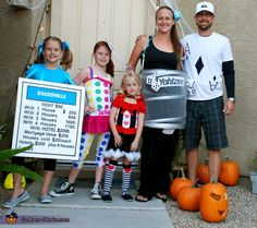 Family Game Night Halloween costume. More families' homemade costume ideas are here http://www.costume-works.com/costumes_for_families