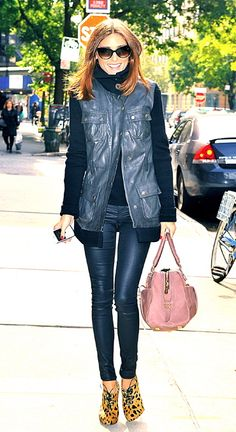 street chic - pink bag, leopard print booties, and leather  - LOVE