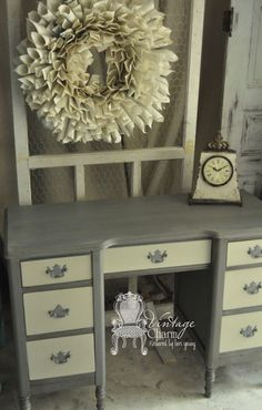 Painted Desk Makeover in Le Craie Confederate Grey and Hurricane
