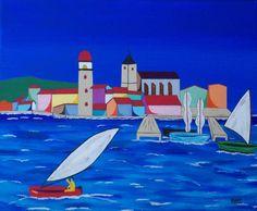 port quelque part en Euskadi (Painting),  40x50 cm par Didier Dordeins tableau acrylique  50x40 cm chassis toile finitions vernis pièce unique signé