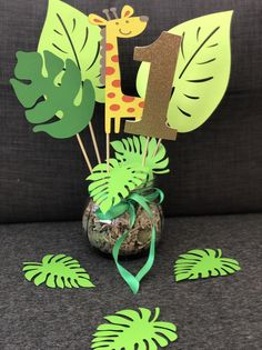 Zoo Theme Birthday Party Centerpieces,Set of 3 (Two leaves and 1 zoo animal ),Jungle theme Party Deco,Safari Party Deco,Monkey Baby shower Zoo Theme Birthday Party CenterpiecesSet of 3 Two leaves and image 2 Safari Theme Birthday, Jungle Theme Parties, Baby Boy 1st Birthday Party, Dinosaur Birthday Party, Animal Birthday, Birthday Party Themes, Frozen Birthday, Party Animals, Zoo Animal Party