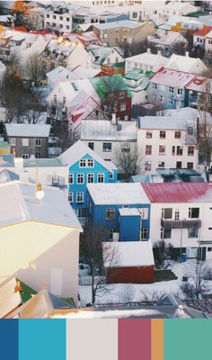 I love this image of the colourful rooftops in Reyjavik, Iceland. The landscape of Iceland can sometimes appear quite grey and bleak, or certainly when I visited, with its snowy mountains and hot lagoons, but these little houses are pops of colour amongst the snow. I would love to go back there again. I also thought the rooftops made a nice colour palette to use for a home interior, for example, a background of white walls with accents of cobalt blue, bright turquoise, ombre yellow and…