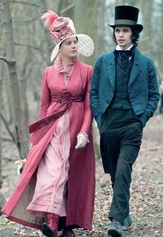 "John Keats and Fanny Brawne from Jane Campion's lush film""Bright Star""-Brawne sewed her own clothes as a form of self-expression."