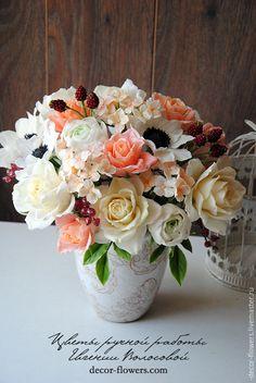 Купить Крупный интерьерный букет ручной работы. - коралловый, букет, цветы, цветы ручной работы