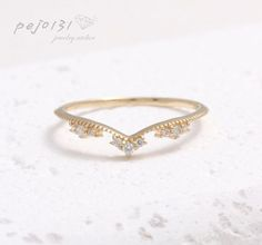 Tiara Petite diamond prong set thin slim band stacking ring/ Delicate filigree V chevron milgrain band ring-14K soild gold