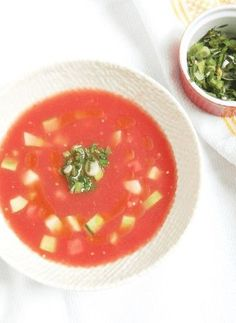 2 Watermelon Tomato Gazpacho with Scallion Cilantro Relish 10 Reasons and Ways to Eat Watermelon. #recipe #weightlossrecipe #diabetesrecipe