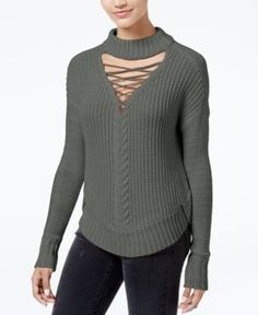 American Rag Juniors' Lace-Up Choker Sweater, Created for Macy's - Green XXL