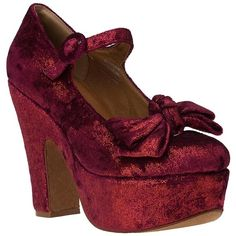 JEFFREY CAMPBELL Wanted Platform Pump Wine Velvet ($37) ❤ liked on Polyvore featuring shoes, pumps, heels, footwear, red shoes, women, high heel shoes, red platform pumps, high heel mary janes ve red pumps