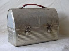 Vintage workman metal dome lunchbox, Pre-1970, Black with leather handle
