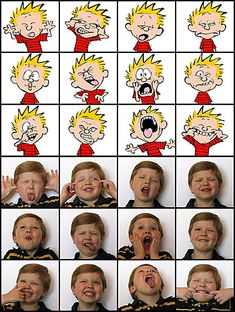 one of our calvin and hobbes party activities will be trying to get the kids to make these faces.  then i'll make a collage and send it to them along with the thank you notes.