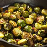 Roasted Brussels Sprouts with Balsamic Reduction, Dried Cherries, and Almonds on… Veggie Side Dishes, Healthy Dishes, Food Dishes, Healthy Recipes, Delicious Recipes, Grilled Brussel Sprouts, Sprouts With Bacon, Brussels Sprouts, Cooking Bacon
