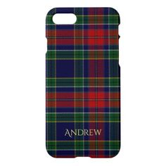 Tartan Plaid Allison with Monogram iPhone 8/7 Case - individual customized unique ideas designs custom gift ideas