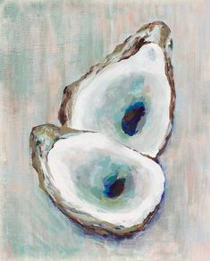Double Oyster Fine art print of original acrylic painting by Kim Hovell. Each print is done on archival paper by a professional digital art Large Prints, Fine Art Prints, Watercolor Paintings, Original Paintings, Watercolors, Painting Art, Painted Shells, Coastal Art, Coastal Style