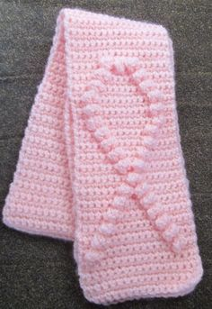 Handmade Crochet Breast Cancer Awareness Pink Scarf