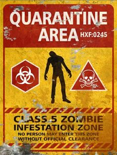 Quarantine Area THICK Sign - Halloween Decor Prop Road and Lawn Decoration Sign