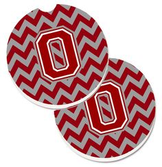 Letter O Chevron Maroon and White Set of 2 Cup Holder Car Coasters CJ1049-OCARC