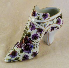 Elegant Porcelain Shoe Pump High Heel Shoe Collectible Figurine