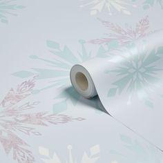 Disney Blue Disney Frozen Snow Flake Mica Effect Wallpaper | Departments | DIY at B&Q