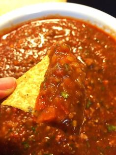 Best Homemade Mexican Restaurant Style Salsa -- roasted jalapenos, garlic cloves, tomato sauce, white onion, roma tomatoes, cilantro, salt