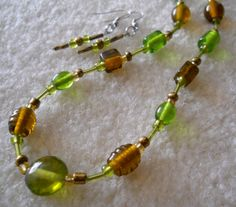 """Original Handmade Glass Beads with Barrel Clasp and Matching French Hook Wire Earrings  Necklace Size - 19 1/2"""""""