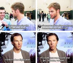 Chris Pine and Benedict Cumberbatch are both perfect. Can we appreciate Chris's face in the second frame?