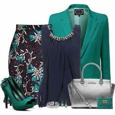 Verde e azul marinho