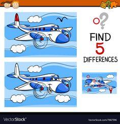 Find the differences task vector image on VectorStock Preschool Games, Free Preschool, Preschool Worksheets, Craft Activities For Kids, Games For Kids, Find The Difference Pictures, Spot The Difference Kids, Science Education, Kids Education