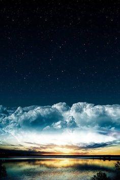 500x750, 38 Kb / небо, звёзды, облака, озеро, закат