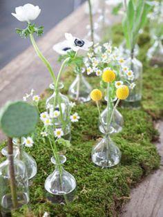 Moss & Wildflowers - anenomes, lotus pods and chamomile with moss  -TheWeddingPost.net