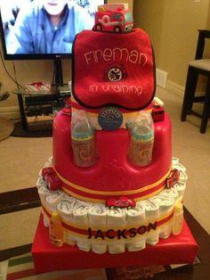 Baby Shower Diaper Cake - Fireman in Training Firefighter Baby Showers, Firefighter Wedding, Baby Shower Crafts, Baby Shower Themes, Shower Gifts, Shower Ideas, Baby Shower Diapers, Baby Boy Shower, Bebe Shower