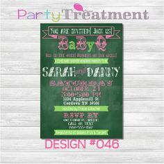 This in purple envelopes? @Lea Colombo Durante? Chalkboard Baby Q Invitation 046 by PartyTreatment on Etsy, $10.00
