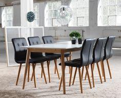 Modern retro i matrummet. EM Möbler - Nagano Matbord och Frida Stol med läderlook Dining Chairs, Dining Table, Nagano, Modern Retro, Living Room, Furniture, Design, Home Decor, House