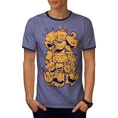emoji Gesicht Glücklich Komisch Smiley Kader Herren S-2XL Ringer T-shirt   Wellcoda