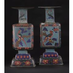A PAIR OF JAPANESE COPPER AND CLOISONNÉ ENAMEL VASES  19TH CENTURY of square baluster form, decorated with paradise birds, peonies and lotus