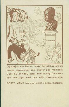 TIEDEMANN. Reklamekort med Sorte Mand, illustrert med Finnbeck. Datert 1930