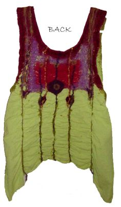 Cotton nuno-felted with wool roving and wool yarn - back