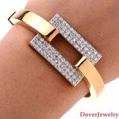 Estate 3.73cts Diamond 18K Gold Bangle Bracelet 40.6 Grams NR