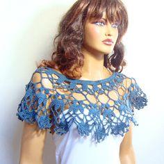 Crochet Bridal Blue Lace Bolero Shrug Shawl Bolero Capele Bride Bridesmaid Lace Bolero,Bride Fashion, Capelet  Shoulder Wrap