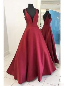 New-Burgundy-Long-Satin-Prom-Formal-Evening-Wedding-Party-Guest-Bridesmaid-Dress